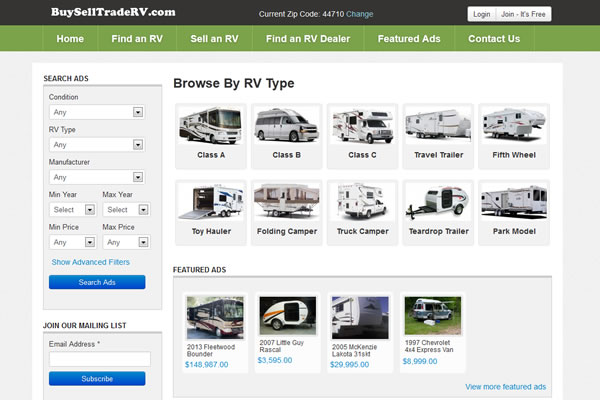 BuySellTradeRV.com Website Design