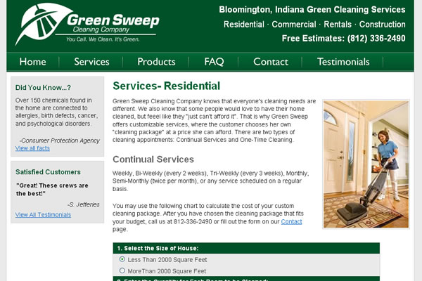 GreenSweep Cleaning Company Website Design