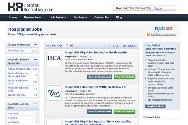 HospitalRecruiting.com Website Design