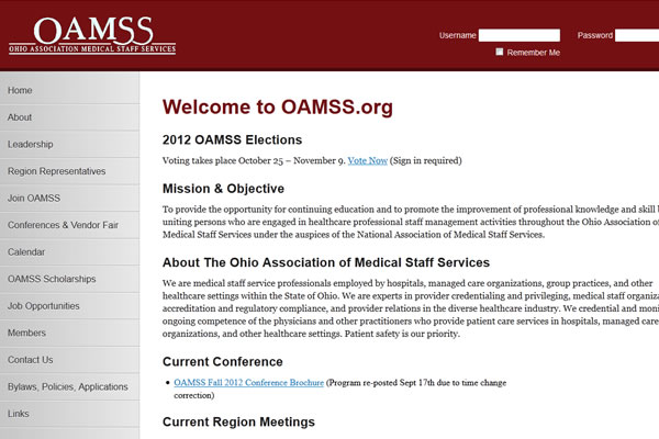 Ohio Association of Medical Staff Services Website Design