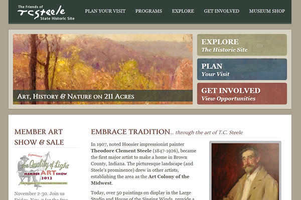 T.C. Steele State Historic Site Website Design